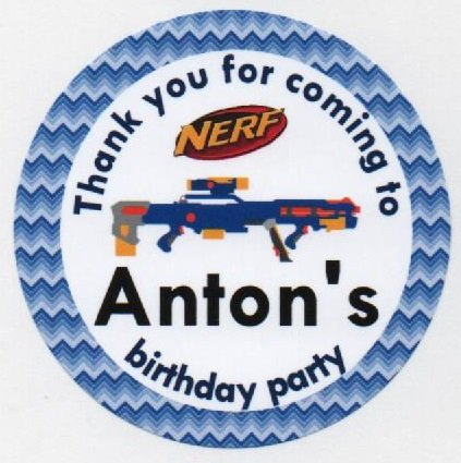 Nerf gun design stickers thank you for coming to personalised a4 sheet of 15 x 50mm round party bag stickers buy online in oman