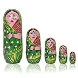 Fine Craft India Set Of 5Pcs Hand Painted Cute Wooden Russian Matryoshka Stacking Nested Wood Dolls Green