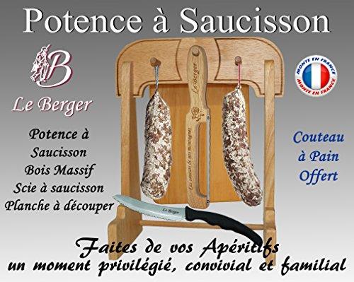 Supporto per salame le berger, 28 x 38 cm, in legno massello con sega da salame, tagliere e coltello da pane inclusi