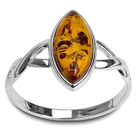 Noda bague en ambre marquise et argent 925/1000 taille 49