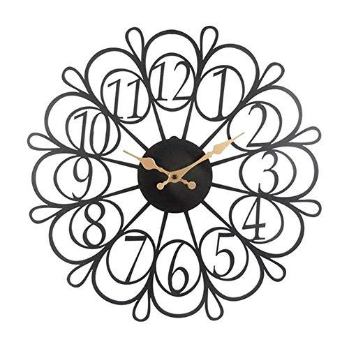 Sagebrook Home Wanduhr, Blumenmuster, Metall, 17,25 x 1,25 x 17,25 cm, Schwarz/goldfarben
