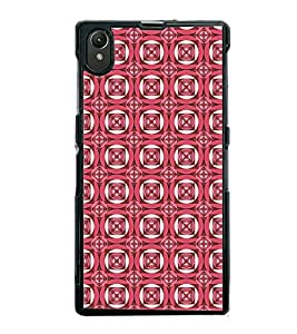 Fuson Premium 2D Back Case Cover Pink Checks pattern With Blue Background Degined For Sony Xperia Z1::Sony Xperia Z1 L39h