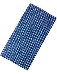 Ivaan Men's Cotton Checks Lungi (DDE-525DC _Blue_ 1 pCS)