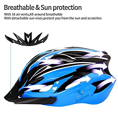 ioutdoor BMX Bike Helmet Lightweight Adjustable 56-64CM,Free Sport Headband,Cycling Helmets with Visor,Bicycle Helmet Men Women Ladies Adults Junior for Skateboard Mountain Road Bike Safety from iOutdoor Products