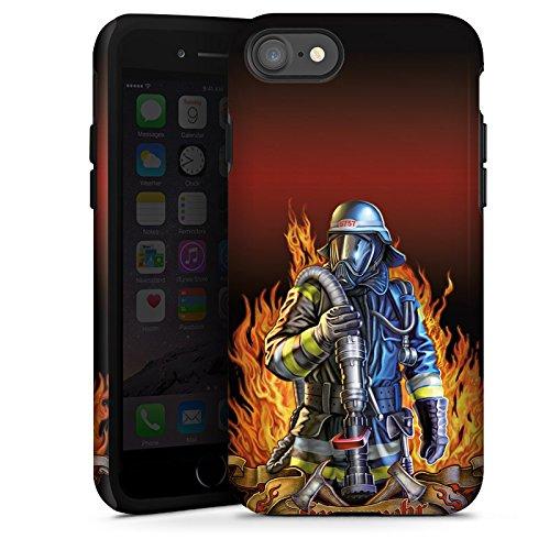 Apple iPhone 7 Silikon Hülle Case Schutzhülle Feuerwehrmann Feuerwehr Firefighter Tough Case glänzend