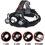 Kurtzy LED Head Lamp Flash Light Torch with Adjustable Rechargeable Battery for Camping Trekking Caving Hiking Reading Running