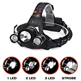 #4: Kurtzy LED Head Lamp Flash Light Torch with Adjustable Rechargeable Battery for Camping Trekking Caving Hiking Reading Running