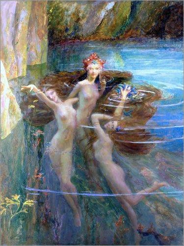 Poster 30 x 40 cm: Wasser-Nymphen 1927 von Gaston Bussiere / Bridgeman Images - hochwertiger Kunstdruck, neues Kunstposter