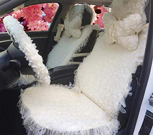 H.aetn Autositzbezüge, Traum Rosa hochwertige Damen Niedlichen Cartoon Autositzbezug Sitzkissen Spitze Frauen Spezielle Auto Nackenkissen (Farbe: Weiß) -