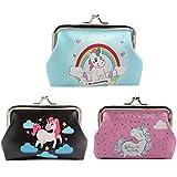 3 Pack Porte-monnaie Licorne Vintage Petit Pochette Rangement Mignonne Fermoir Fermeture Mini Portefeuille pour Femmes Filles Exquis Cadeau (B)