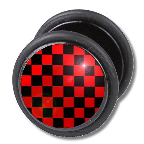 1-x-nero-rosso-a-quadri-karos-quadrato-rotondo-finto-plug-tunnel-unisex-orecchini-a-perno-in-acciaio