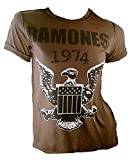 Amplified Damen Lady T-Shirt Stonewash Braun Chocolate Brown Official THE RAMONES 1974 Merchandise Adler Eagle Logo Special Edition ViP Rock Star Vintage Nähte Aussen Löcher Destroyed L 40