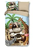 Aminata Kids - Kinder-Bettwäsche-Set 135-x-200 cm Zoo-Tier-e-Motiv Safari Waldtier-e Dschungel 100-% Baumwolle Renforce bunt-e Wende-Motiv-e