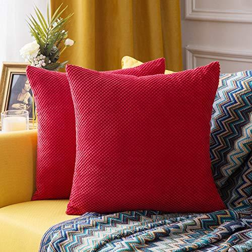 MIULEE 2er Set Granulat Kissenbezug Ananas Weiches Massiv Dekorativen Quadratisch Überwurf Kissenbezüge Kissen für Sofa Schlafzimmer Auto 18