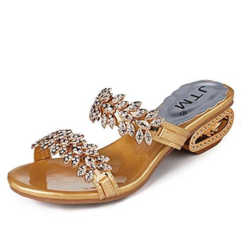 sandalias de mujer tacon Slim, Chanclas Mujer 2018 sandalias plataformas niña camper Zapatillas de verano casuales Sandalias planas Zapatos de playa con punta abierta medias sin puntera para sandalias (Cristal dorado, Talla 40)