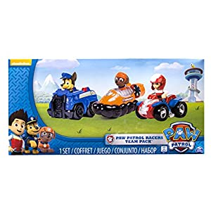 PAW PATROL - Racers Team Pack - Chase, Zuma & Ryder - Set 3 Mini Vehículos al Rescate La Patrulla Canina