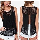 Amlaiworld Tops Mujer, Camiseta de Verano del cordón del Ganchillo de la Blusa sin Mangas (M)