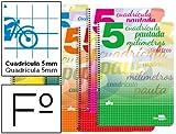Liderpapel BF63 - Cuaderno Espiral Folio Pautaguia Tapa Blanda 80H 80 Gr Cuadro Pautado 5Mm Con Margen Colores Surtidos(5 Unidades)