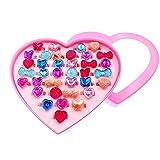 JZK 36 Regolabili gemstone cristallo anelli gioco per bambina gioielli giocattolo + scatola cuore per ragazza bomboniera pensierino ringraziamento regalino fine festa compleanno bambini