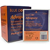 Pois Bleu Advapore Adhésif tissu Non tissé Pansements (Boîte de 50) - 9cm x 20cm