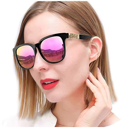 SIPHEW Damen Sonnenbrille Polarisiert Entfernen Sie die Blendung Groß Sonnenbrille Verspiegelt 100% UVA/UVB Schutz