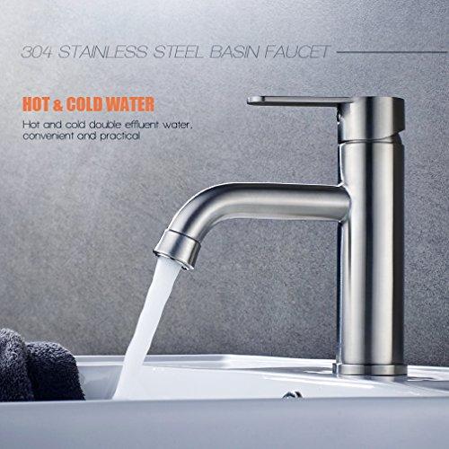 Auralum Wasserhahn Waschtischarmatur Mischbatterie Waschbeckenarmatur für Waschbecken Kalt-warmwasser Spülbecken Einhandgriff Küche Armatur 304 Edelstahl