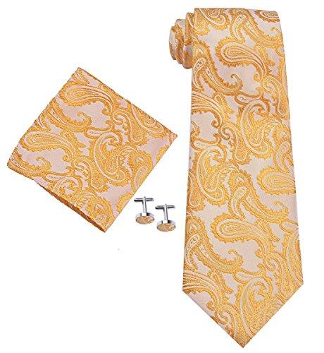 4AHero-Innovations Krawatten Set Hochzeit Konfirmation Business Paisley für Männer Handgefertigtes Krawatte Einstecktuch Set mit Manschetten-knöpfe