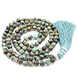 Gemstone Collier de Perles de Mala, Mala Bracelet, Collier Bouddhiste, noués Collier, Tassel Collier, African Turquoise Mala