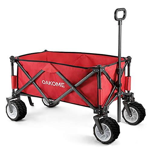 Oakome Faltbarer Bollerwagen bis 70 KG belastbar Handwagen mit großen rutschfesten Rollen für alle Untergründe geeignet, neuste Vierfachfalten Standwagen mit Teleskopgriff