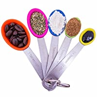 5 Piece Non-stick Silicone Measuring Spoons - Bake To Perfection Every-time With Spot On Measurements - Lifetime Guarantee