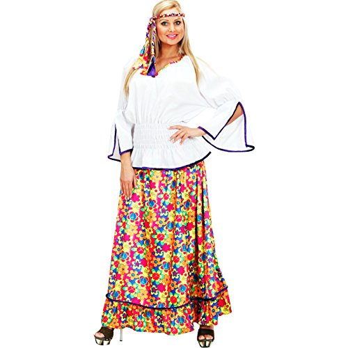 Hippie Kostüm Love Child - Widmann - cs927331/XL - Kostüm Hippie Peace and Love Girl Velours XL