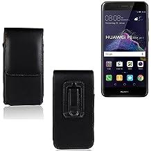 Funda para Huawei P8 Lite 2017 Dual SIM, la bolsa de cinturón de cuero de imitación de alta calidad en color negro | elegancia funcional simple llano. Teléfono Móvil Funda Caso bolso cruzado bolsillo clip de transporte vertical de la cubierta del bolso