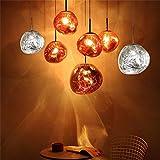 Lámpara colgante Poste de vidrio moderno Colgante de luz Fusión Lava Lámpara de vidrio Colgante Oro Cobre Plata Decorativo Caída Luces de restaurante Iluminación de no bombilla, Plata, gran D40cm
