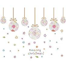 Winhappyhome Natale palline colorate adesivi da parete