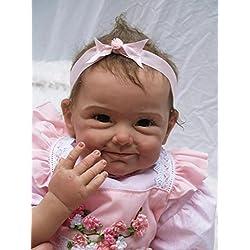 NPKDOLL Renacer De La Muñeca De Silicona Suave 22 Pulgadas 55 Centímetro Magnética Boca Precioso Realista Linda Muchacha Del Muchacho De La Flor Del Vestido Rosado Del Juguete Reborn Doll A1ES