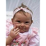 Nicery Renacido de la muñeca de silicona suave 22inch 55cm magnetica Boca precioso realista linda muchacha del muchacho de la flor del vestido rosado del juguete Reborn Doll A3ES