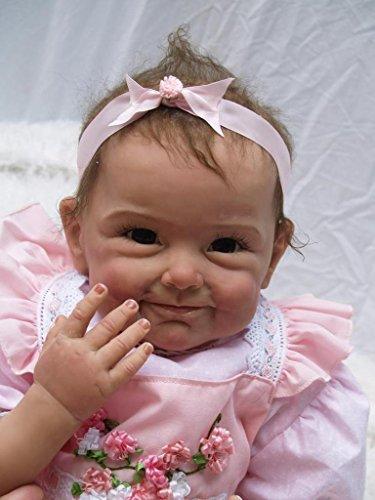 Nicery Neugeboren Baby Puppe Weich Silikon 22inch 55cm Magnetisch Mund Schone Naturgetreue Niedlich Junge Madchen Spielzeug Rosa Kleid Blume Reborn Doll A3DE