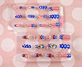 Salon-Patch handgemachte Kunsthochzeitsnagel -Kunst 24pcs falscher Nagel amerikanische Flagge falsche Nägel weiß und rot Diamantfingernagelkunst für Braut Hochzeit
