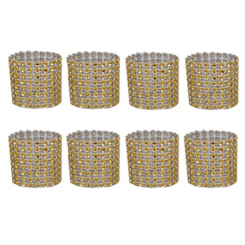 Amgateeu 8 pcs Plastique Net percer ronds de serviette Doré
