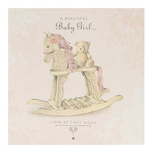 Hallmark - Biglietto d'auguri per nascita di figlia femmina, stile contemporaneo con effetto perlato, formato medio, quadrato