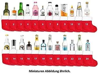 Gin Tonic Adventskalender - 12x Verschiedene Gin Sorten + 12x Verschiedene Tonic Sorten + Socken zum aufhängen