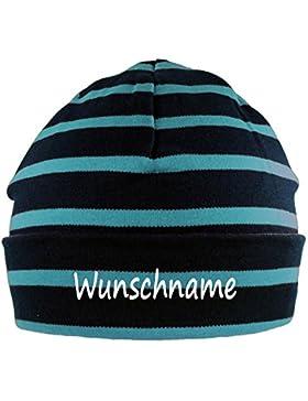 Mütze gestreift mit Namen oder Text personalisiert für Baby oder Kind aus 100% Baumwolle mit UV-Schutz