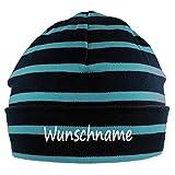 Mütze blau azur gestreift mit Namen oder Text personalisiert für Baby oder Kind aus 100% Baumwolle mit UV-Schutz