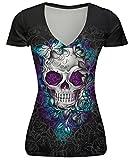 AIVTALK Damen T-Shirt Totenkopf Motiv Druck Tops Schädel Kurzarm T-Shirt V Ausschnitt Shirt Frauen Figurbetonte Shirt Passform Tops Für Sport One Size - Muster 1