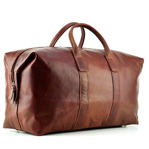 FEYNST Leder Weekender Reisetasche 42l Sporttasche Handgepäck Gross Kurzurlaub Ledertasche Braun 52 x 22 x 37 cm -