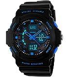 Jungen Jugendliche Kinder Digital Sportuhr - Multifunktion 50M Wasserdicht Elektronisch Sport Armbanduhr mit LED Beleuchtung Stoppuhr Timer Wecker für Kinderuhr uhren ( Blau )