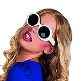 Retro Brille rund 60er Jahre Sonnenbrille weiß Sommerbrille Sixties Vintagebrille Jacky Kennedy