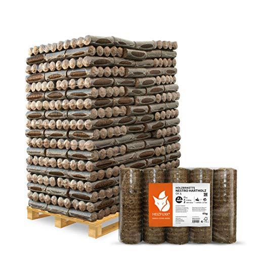 PALIGO Holzbriketts Nestro Hartholz Eiche Kamin Ofen Brenn Holz Heiz Brikett 6kg x 162 Gebinde 972kg / 1 Palette Heizfuxx - 8x8 Schuppen Holz