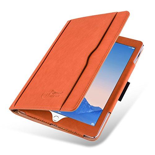 JAMMYLIZARD Hülle für Air, Air 2 & iPad 9.7 2017/2018 | Ledertasche Flip Case [Business Tasche] Leder Smart Cover Lederhülle, Orange & Honig [mit Eingabestift & Pencil Halter]