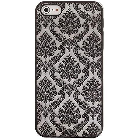 Tongshi Para el iPhone 5 5s Tallado del damasco de la vendimia Mate cubierta del estuche rígido (negro)